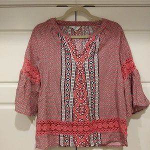 GRAPHIC BELL SLEEVE PETITE SMALL SHIRT TOP BLOUSE